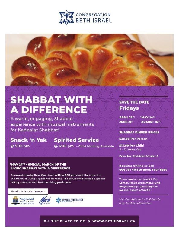 Shabbat With a Difference at Beth Israel - August 2019 | Yossilinks
